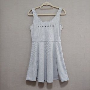 Divided Minimalism Graphic Skater Dress
